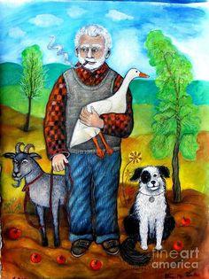 Wolfe Blitzer In Retirement Drawing Pregnancy Signs, Grandparents Day, Canvas Prints, Art Prints, Illustration Art, Illustrations, Farm Animals, Mixed Media Art, Unique Art