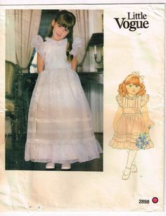 Little Girls Special Occasion Gown. Childrens Dress and Sash, Below mid knee or evening length dress has bias neck binding Fitted bodice with