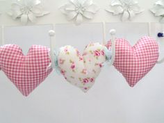 tilda Fabric hanging heart decoration plush by FingerPrickingGood