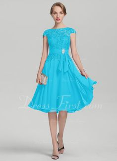 972a4cd31603d [ 146.99] A-Line/Princess Scoop Neck Knee-Length Chiffon Lace Mother of the  Bride Dress With Beading (008131948)