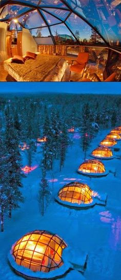 Hotel Kakslauttanen, Saariselkä, Finland. Read more about this fascinating hotel here: http://www.kakslauttanen.fi/en/.