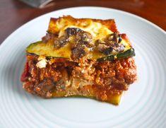 Zucchini Lasagna with Meat Sauce & Mushrooms (paleo-friendly, GF)  #Perchancetocook