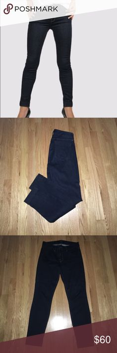 """J Brand Anja mid rise cuff Capri Night shadow Dark denim. 26"""" inseam, 8.5"""" rise, 12"""" in the knee narrows to 10"""" At the leg opening. Cuffed hem. In perfect condition J Brand Jeans Ankle & Cropped"""