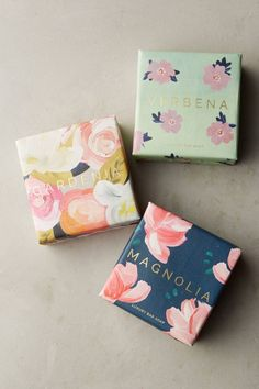 Each of Mistral's French-milled bars of soap are hand-wrapped in papers illustrated with floral watercolors. Soap Packaging, Pretty Packaging, Packaging Ideas, Product Packaging Design, Soap Recipes, Vintage Design, Home Made Soap, Packaging Design Inspiration, Feminine Packaging Design