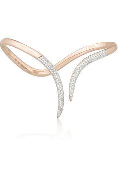 Ana Khouri Stem 18-karat rose gold diamond hand cuff NET-A-PORTER.COM