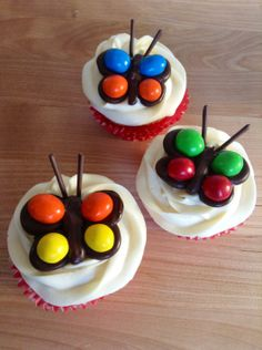 Magical M M Butterfly Cupcakes - Since I really don't want to pull weeds today … how about making some candy butterflies?