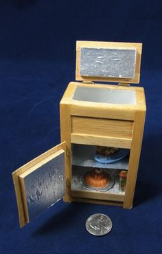 Vintage 1:12 Dollhouse Miniature Refrigerator Wood Ice/Box Food Olives OOAK #HandicraftDesigns