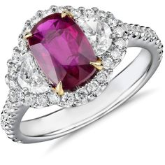Blue Nile Three-Stone Cushion-Cut Ruby and Half Moon Diamond Halo Ring featuring polyvore, women's fashion, jewelry, rings, blue nile jewelry, white ring, white jewelry, halo cushion cut diamond ring and cushion cut ring