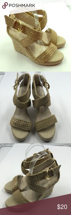 Dana Bachman Lt Khaki Wedge Dandals 6.5 6.5M Very nice Dana Buchanan light khaki woven wedge sandals.  Women's size 6.5M.   Bundle discount.  Fast shipping. Dana Buchman Shoes Espadrilles