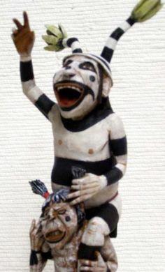 "Hopi 13"" Clown Riding Piggyback Sculpture Katsina Kachina Doll by Neil David Sr. | eBay"