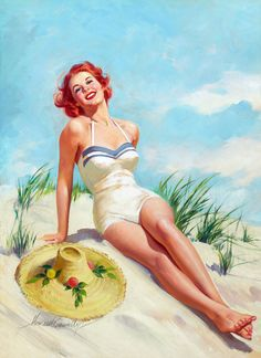 Pin-Up Girl Wall Decal Poster Sticker - Girl on Beach - Red Hair Redhead Pin Up Pinup
