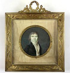 Antique French Portrait Miniature, Revolutionary Era Man, c.1789-1800, Bronze Frame Old Frames, Antique Frames, Visual Memory, Bronze, The Fragile, Portrait, French Antiques, Fascinator, Man