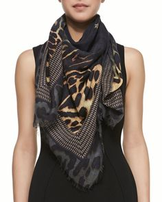 Givenchy Square Silk-Wool Shaded Leopard Logo Scarf on shopstyle.com