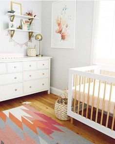 "Stylish Bump on Instagram: ""NURSERY / / Gorgeous light filled nursery featuring an Ikea sideboard, @babyletto crib and lovely rug by @westelm designed by Interior Stylist @brimoysa  via @projectnursery"""