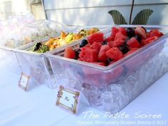 food table set for outside, keeping it cool.