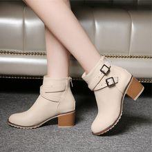 Outono e inverno das mulheres sapatos Europa estrela da moda do vintage das mulheres sapatos de salto alto Tornozelo botas de Neve botas curtas com zíper plus size 34-43(China (Mainland))