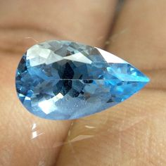 11.4x6.7 MM AQUAMARINE HIGH QUALITY 2 Cts PEAR SHAPE TOP COLOR FACETED STONE #NAAZGEMS