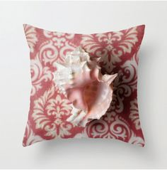 Shell 2 Red Pink White Decorative Throw by LocationPhotography
