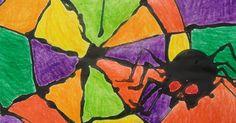 Spider Art: Mix half glue and half black liquid tempera paint in about...