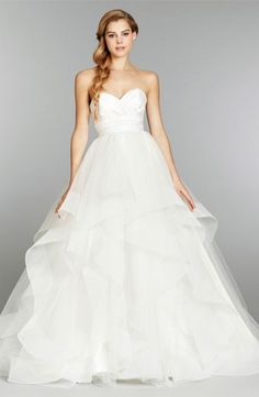 Sweetheart A-Line Wedding Dress  with Natural Waist in Silk Razmir. Bridal Gown Style Number:33358367