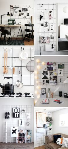 DIY Inspiration: Metal Grid | Transient Expression Wall Organization, Metal Wall Grid, Metal Board, Metal Walls, Dyi Room Decor, Diy Room Decor For College, Diy Home Decor, Decor For Renters, Tumbler Room Ideas