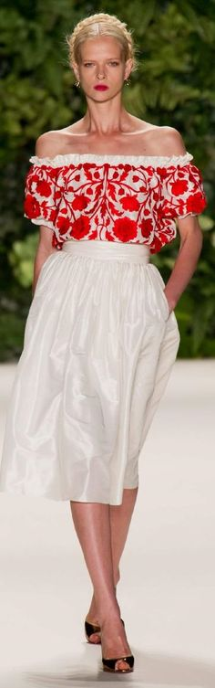 942149a12990 Naeem Khan Spring 2014 RTW off the shoulder with red embroidery