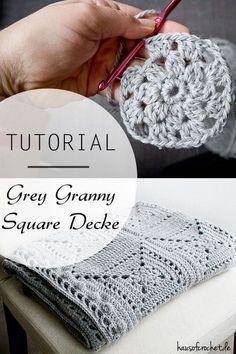 Tutorial: Grey Granny Square Decke #häkeln #crochet #dropsalaska