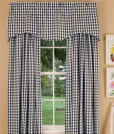 Cabin Check Lined Scalloped Valance