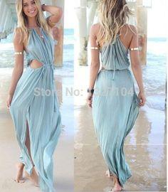 Blue Summer Beach Casual Gypsy Long Tshirt Dress Women Asy Hem Cut Out Split Dress Sundress Halter Maxi Bandage Skater Dress Long Prom Dresses Long Black Dress From Minminlidu, $19.1| Dhgate.Com