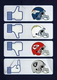 More Broncos Vs Raiders, Go Broncos, Broncos Fans, Bronco Car, Bronco Sports, Denver Broncos Womens, Denver Broncos Football, Pro Football Teams, Football Memes