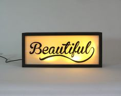 """Hand Painted Signs """"Beautiful"""" Vintage Wooden Light Box / Illuminated Sign / Industrial Rustic / Reclaimed Plastic / Home Cafe Decor by Bingkai on Etsy https://www.etsy.com/listing/235979950/hand-painted-signs-beautiful-vintage"""