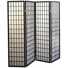 4-Panel Shoji Screen Room Divider - Black $84.97 at Walmart