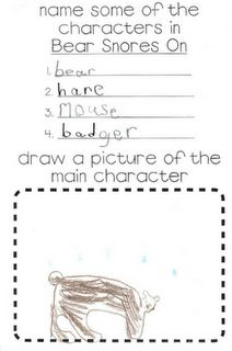 Bear Snores On, story elements. Cute story for hibernation and great response worksheet