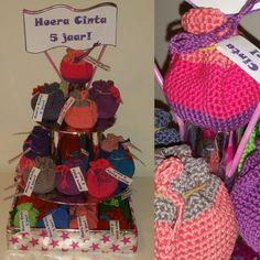 Birthday treats. Crochet little bags with a mandarin