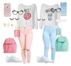 """""""BFF"""" by jazhiaaa ❤ liked on Polyvore featuring NIKE, Vera Bradley, Essie, Skinnydip, Charlotte Russe, Forever 21 and Tiffany & Co."""