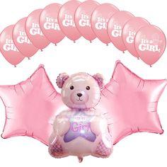 "1set Baby Shower Pink Star Decorations 32"" Foil Balloons Girl Baby Teddy bear  #Anagram #BabyShower"