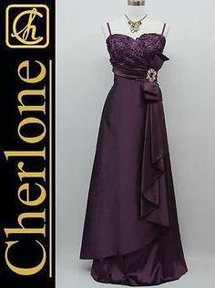 Cherlone Plus Size Satin Purple Ball Gown Wedding/Evening Bridesmaid Dress 20-22