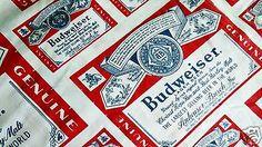 BUDWEISER-BEER-QUEEN-SIZE-FLAT-SHEET-Vintage-Sears-Roebucks-Anheuser-Busch
