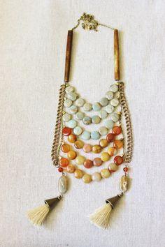 Wood, Stone, & Tassel Necklace