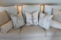 Love the neutral hued nautical-themed scatter cushions