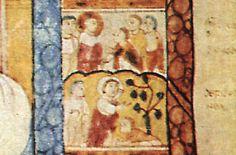 L'evangile présumé de st Augustin, détail de St Luc (au milieu à droite) Le lavement des pieds, Marie Madeleine aux pieds du Christ. Fin VI°s, Cambridge.-
