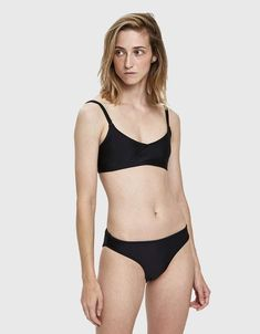 Human Figure Drawing Reference Nu Swim High Cut Swim Bottom in Black - High-cut bikini bottom from Nu Swim in Black. Simple bottom cut high on hips and back with binding at waist and legs. Fully lined.