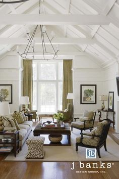 Transitional Residential Design #Transitional #LivingRoom #Chandelier #Green #White #Brown #Lowcountry J Banks Design Group Hilton Head, SC @Hickory Chair Spool Chairs and Charles Hassock