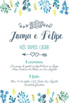 Arte para convite de casamento floral. Acompanha convite individual. Compre a arte e imprima em casa. Apenas R$56,00  #convite #casamento #floral