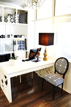 Decorating inspiration for the new home office. Love this sleek and chic design
