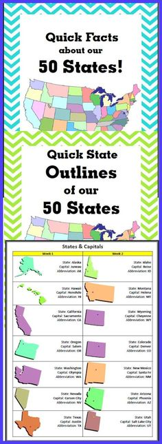 50 States downloads! Facts, Outlines and more!! Download Club members can download @ http://www.christianhomeschoolhub.com/pt/US-Geography-Teaching-Resources--Downloads/wiki.htm