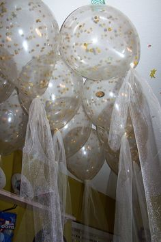 Confetti Filled Clear Latex Balloons with Tulle ribbons for a Wedding Shower