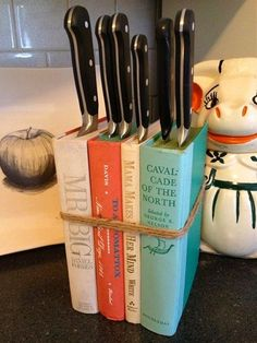 Knife Block From Old Books