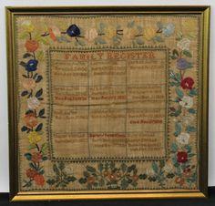 Antique Folk Art Needlepoint Sampler Austin/Kimball Family Birth Death Register