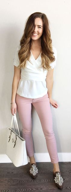 Favorite skinny jeans right now!! This pink is perfect and high waisted - so flattering! Paired with a white wrap top to give you an hourglass shape: perfect flattering outfit! #fashion #outfit #style #styleinspiration #styleidea #outfitinspiration #outfitidea #skinnyjeans #pinkjeans #wraptop #whitetop by Marie's Bazaar
